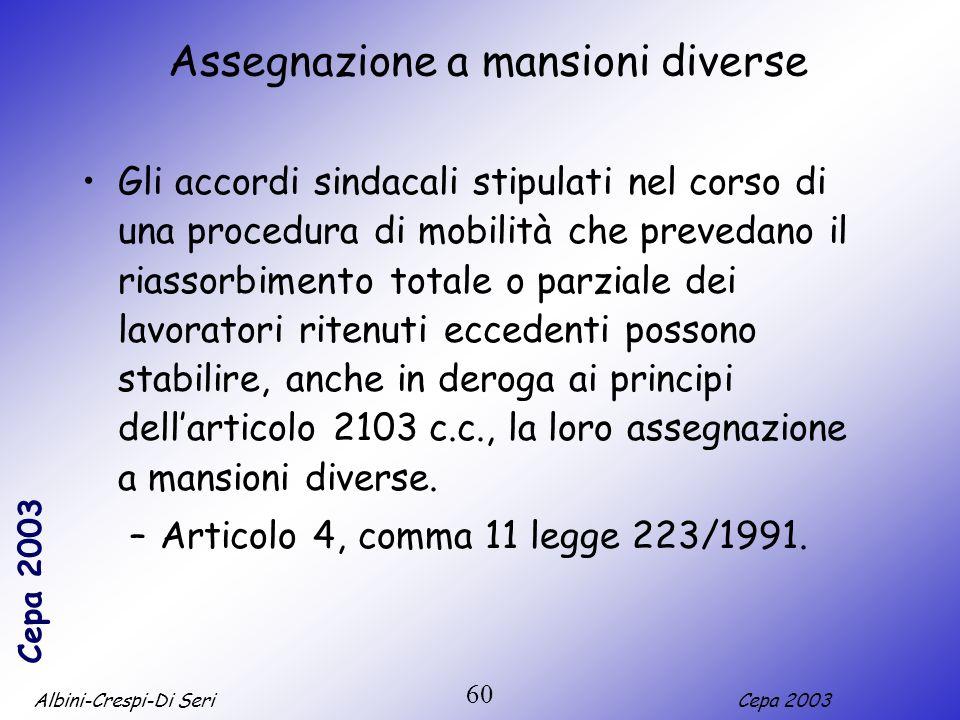 Albini-Crespi-Di SeriCepa 2003 60 Assegnazione a mansioni diverse Gli accordi sindacali stipulati nel corso di una procedura di mobilità che prevedano