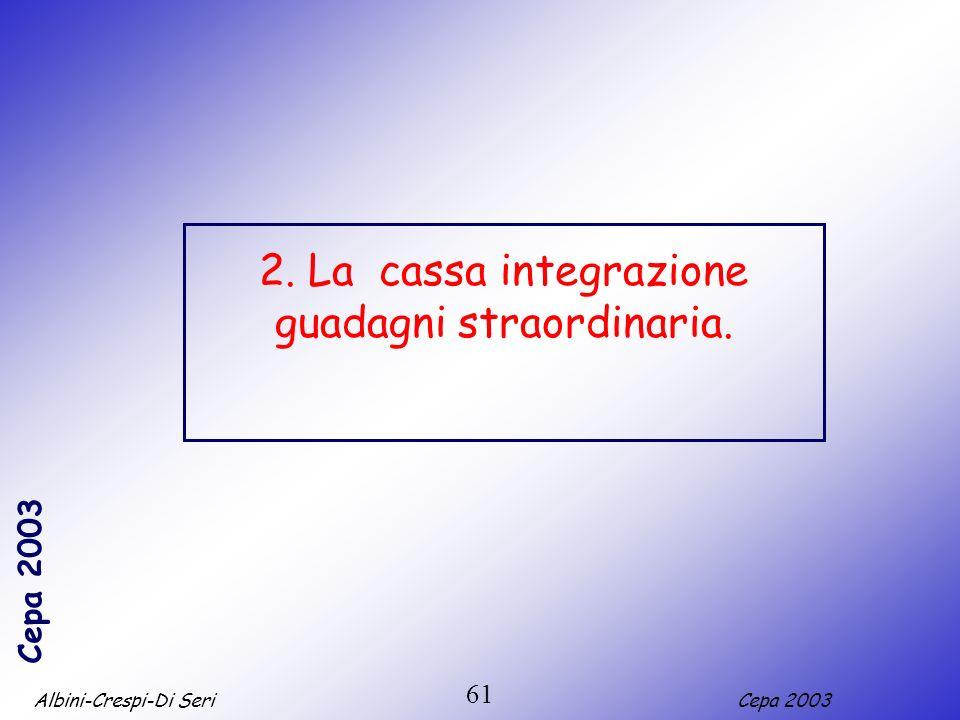 Albini-Crespi-Di SeriCepa 2003 61 2. La cassa integrazione guadagni straordinaria.