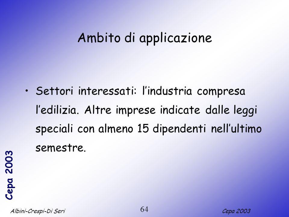 Albini-Crespi-Di SeriCepa 2003 64 Ambito di applicazione Settori interessati: lindustria compresa ledilizia. Altre imprese indicate dalle leggi specia