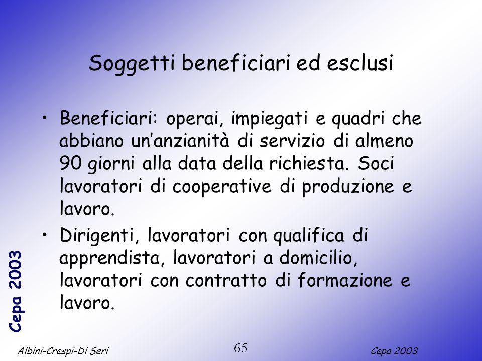 Albini-Crespi-Di SeriCepa 2003 65 Soggetti beneficiari ed esclusi Beneficiari: operai, impiegati e quadri che abbiano unanzianità di servizio di almen
