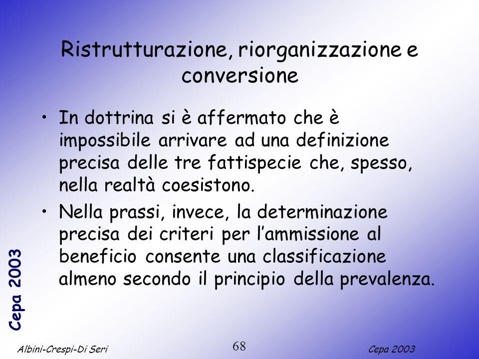 Albini-Crespi-Di SeriCepa 2003 68 Ristrutturazione, riorganizzazione e conversione In dottrina si è affermato che è impossibile arrivare ad una defini