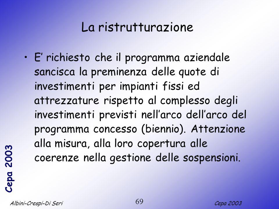 Albini-Crespi-Di SeriCepa 2003 69 La ristrutturazione E richiesto che il programma aziendale sancisca la preminenza delle quote di investimenti per im