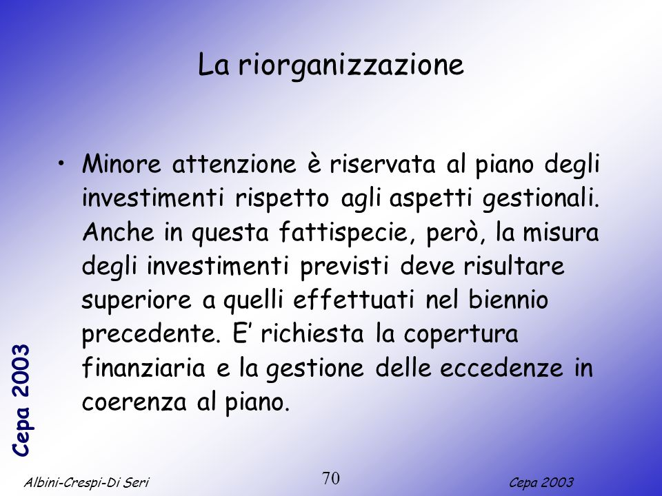 Albini-Crespi-Di SeriCepa 2003 70 La riorganizzazione Minore attenzione è riservata al piano degli investimenti rispetto agli aspetti gestionali. Anch