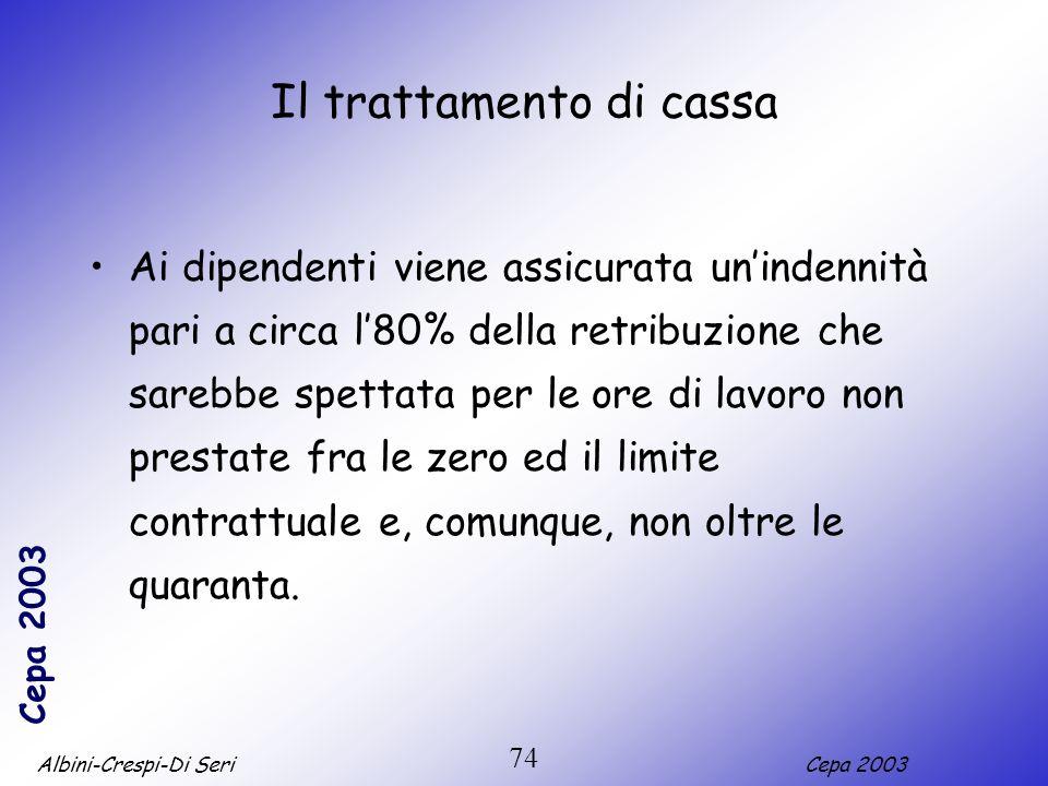 Albini-Crespi-Di SeriCepa 2003 74 Il trattamento di cassa Ai dipendenti viene assicurata unindennità pari a circa l80% della retribuzione che sarebbe