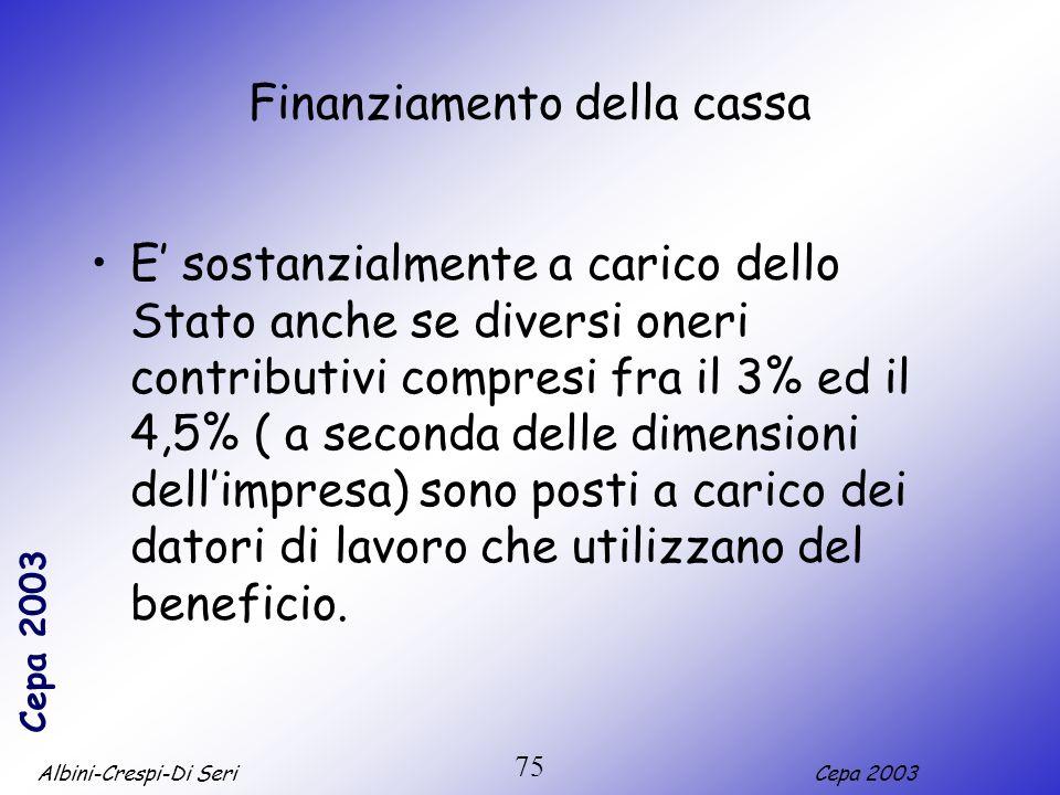 Albini-Crespi-Di SeriCepa 2003 75 Finanziamento della cassa E sostanzialmente a carico dello Stato anche se diversi oneri contributivi compresi fra il