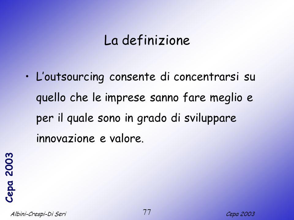 Albini-Crespi-Di SeriCepa 2003 77 La definizione Loutsourcing consente di concentrarsi su quello che le imprese sanno fare meglio e per il quale sono