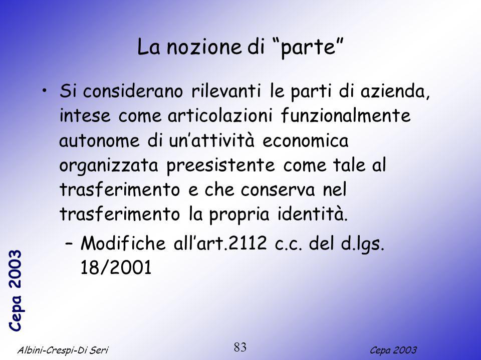 Albini-Crespi-Di SeriCepa 2003 83 La nozione di parte Si considerano rilevanti le parti di azienda, intese come articolazioni funzionalmente autonome
