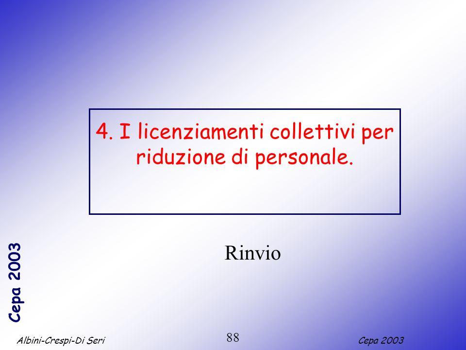 Albini-Crespi-Di SeriCepa 2003 88 4. I licenziamenti collettivi per riduzione di personale. Rinvio
