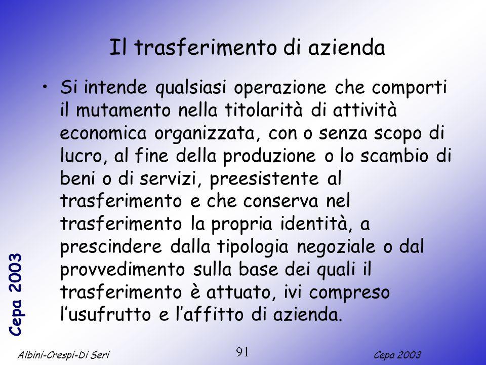 Albini-Crespi-Di SeriCepa 2003 91 Il trasferimento di azienda Si intende qualsiasi operazione che comporti il mutamento nella titolarità di attività e