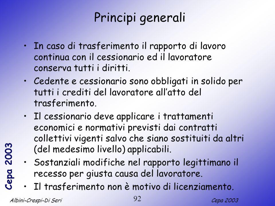 Albini-Crespi-Di SeriCepa 2003 92 Principi generali In caso di trasferimento il rapporto di lavoro continua con il cessionario ed il lavoratore conser