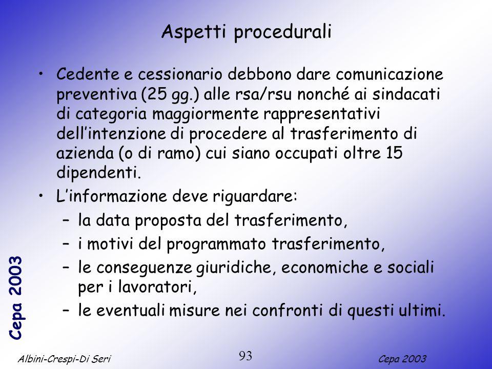 Albini-Crespi-Di SeriCepa 2003 93 Aspetti procedurali Cedente e cessionario debbono dare comunicazione preventiva (25 gg.) alle rsa/rsu nonché ai sind
