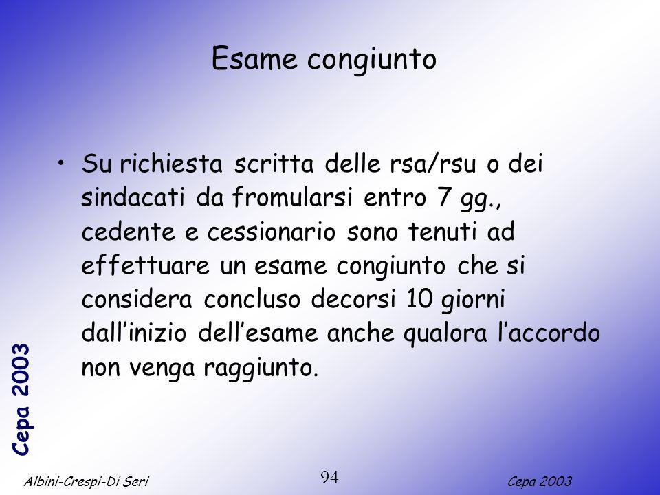 Albini-Crespi-Di SeriCepa 2003 94 Esame congiunto Su richiesta scritta delle rsa/rsu o dei sindacati da fromularsi entro 7 gg., cedente e cessionario