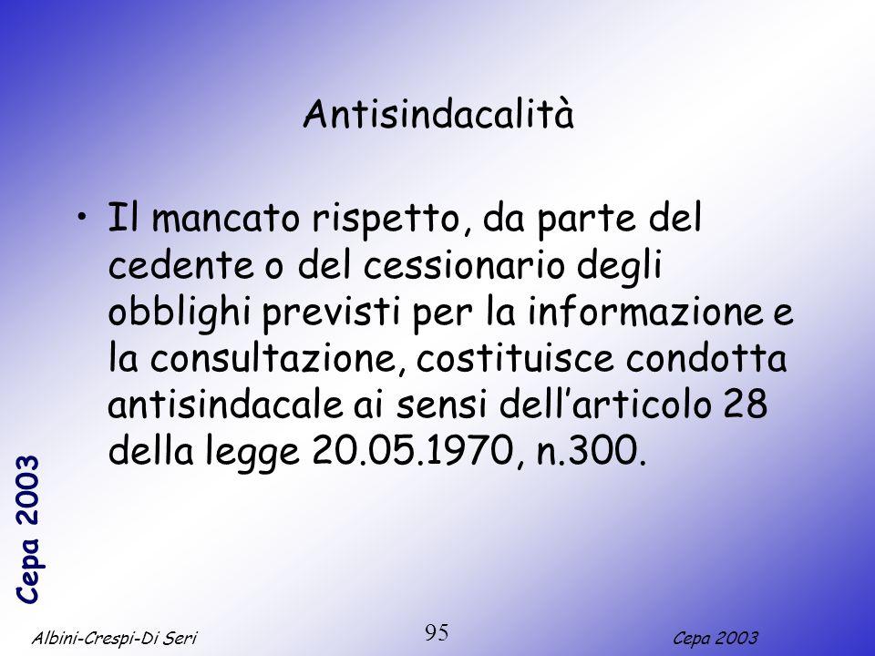 Albini-Crespi-Di SeriCepa 2003 95 Antisindacalità Il mancato rispetto, da parte del cedente o del cessionario degli obblighi previsti per la informazi