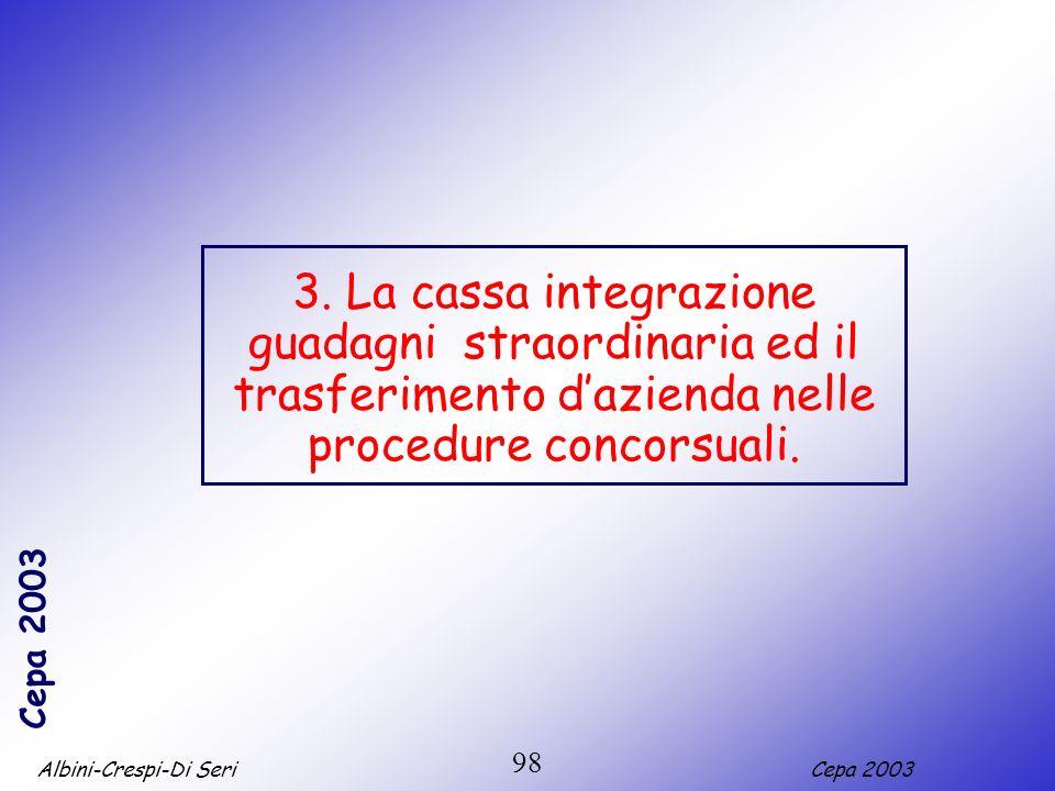 Albini-Crespi-Di SeriCepa 2003 98 3. La cassa integrazione guadagni straordinaria ed il trasferimento dazienda nelle procedure concorsuali.