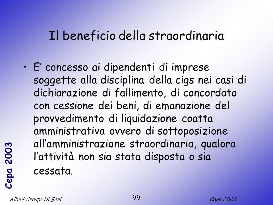 Albini-Crespi-Di SeriCepa 2003 99 Il beneficio della straordinaria E concesso ai dipendenti di imprese soggette alla disciplina della cigs nei casi di