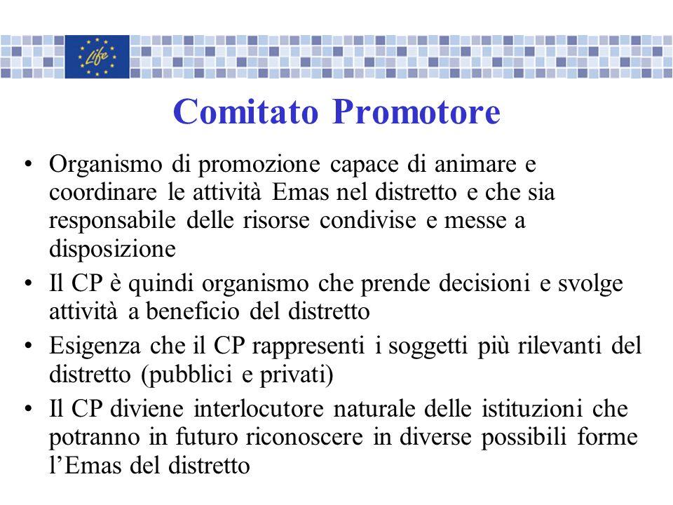 Comitato Promotore Organismo di promozione capace di animare e coordinare le attività Emas nel distretto e che sia responsabile delle risorse condivis
