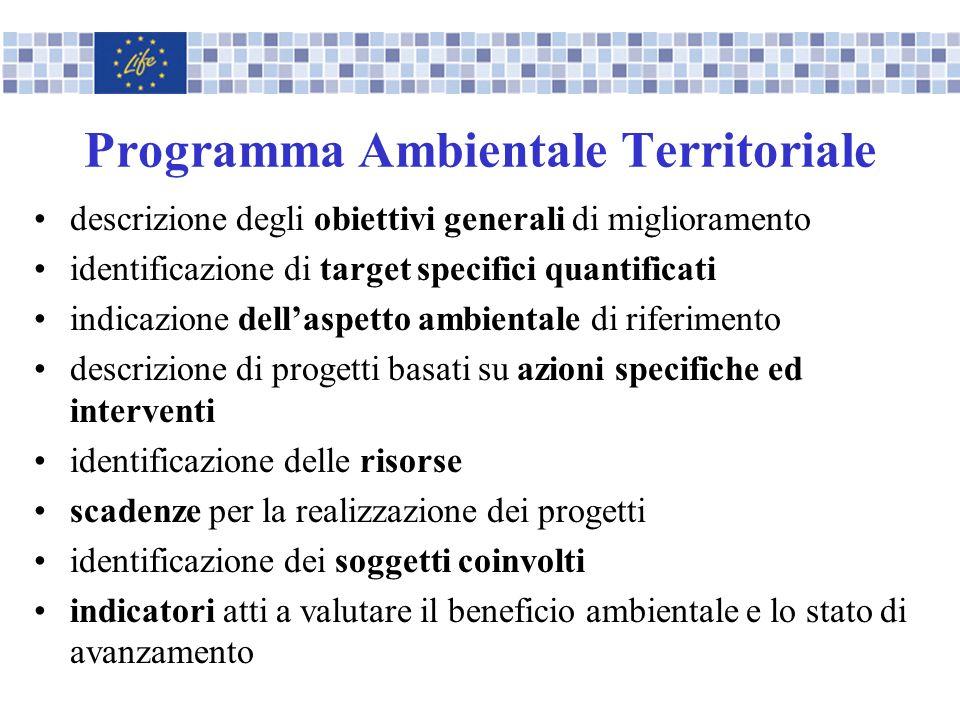 Programma Ambientale Territoriale descrizione degli obiettivi generali di miglioramento identificazione di target specifici quantificati indicazione d