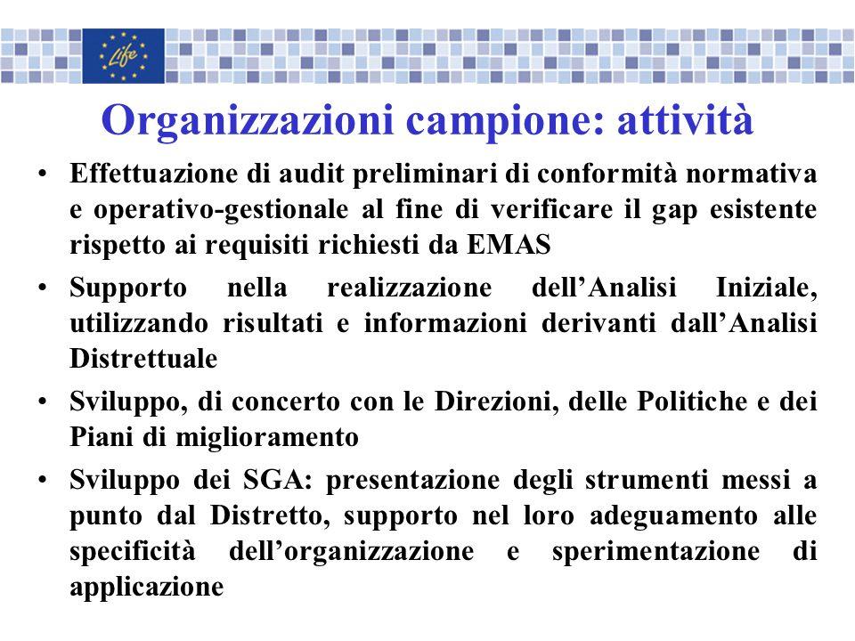 Organizzazioni campione: attività Effettuazione di audit preliminari di conformità normativa e operativo-gestionale al fine di verificare il gap esist