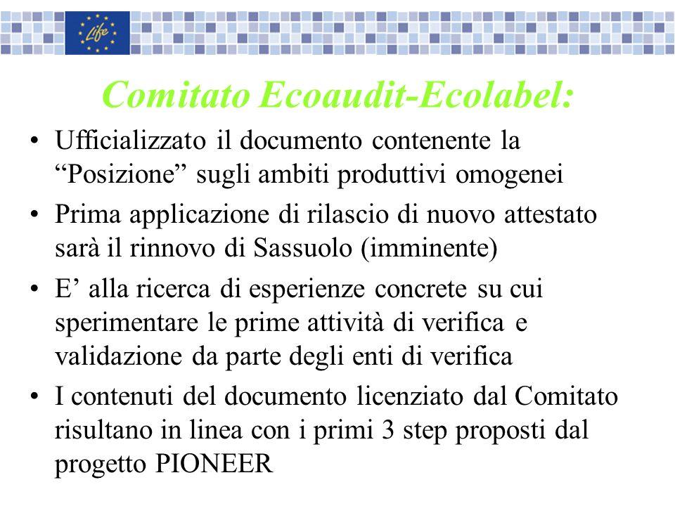 Comitato Ecoaudit-Ecolabel: Ufficializzato il documento contenente la Posizione sugli ambiti produttivi omogenei Prima applicazione di rilascio di nuo