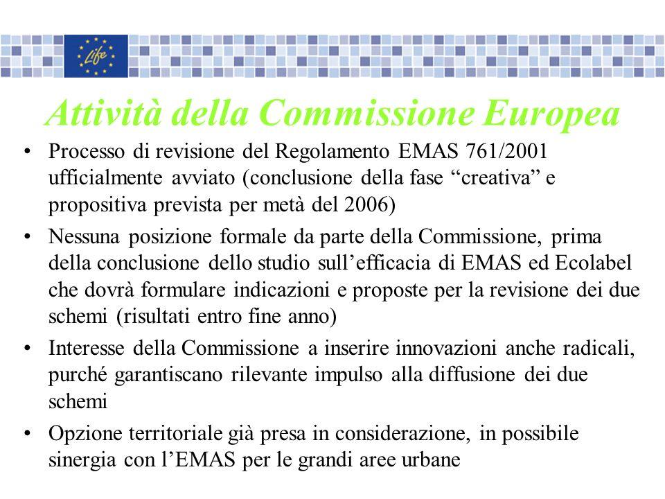 Attività della Commissione Europea Processo di revisione del Regolamento EMAS 761/2001 ufficialmente avviato (conclusione della fase creativa e propos