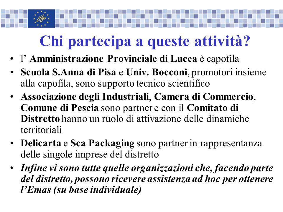 Chi partecipa a queste attività? l Amministrazione Provinciale di Lucca è capofila Scuola S.Anna di Pisa e Univ. Bocconi, promotori insieme alla capof