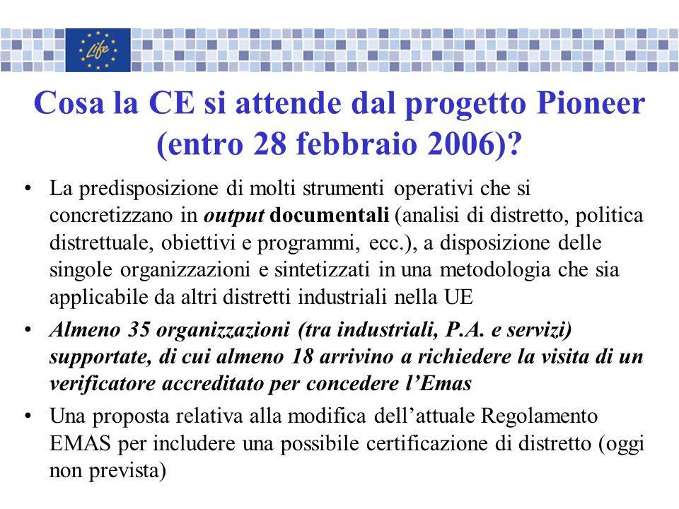 Cosa la CE si attende dal progetto Pioneer (entro 28 febbraio 2006)? La predisposizione di molti strumenti operativi che si concretizzano in output do
