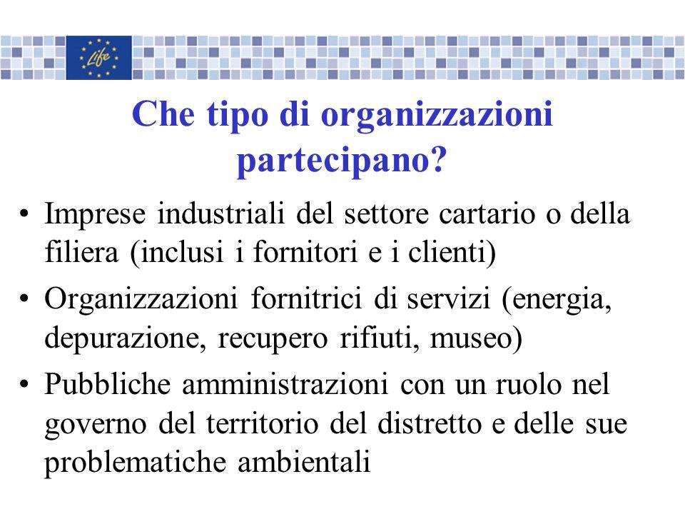 Che tipo di organizzazioni partecipano? Imprese industriali del settore cartario o della filiera (inclusi i fornitori e i clienti) Organizzazioni forn