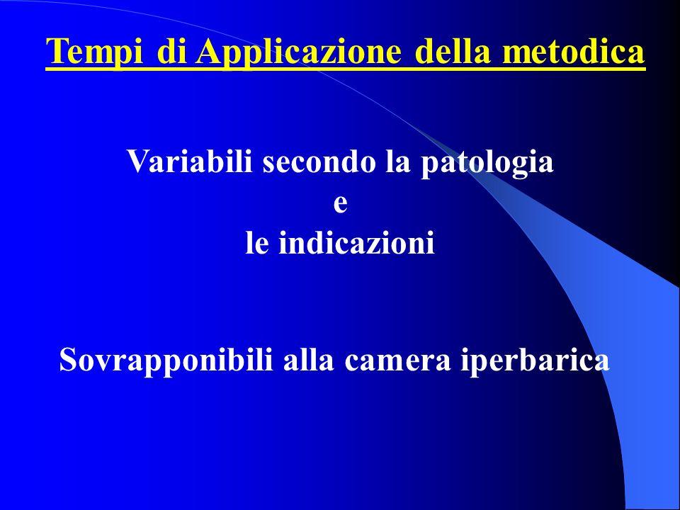 Tempi di Applicazione della metodica Sovrapponibili alla camera iperbarica Variabili secondo la patologia e le indicazioni