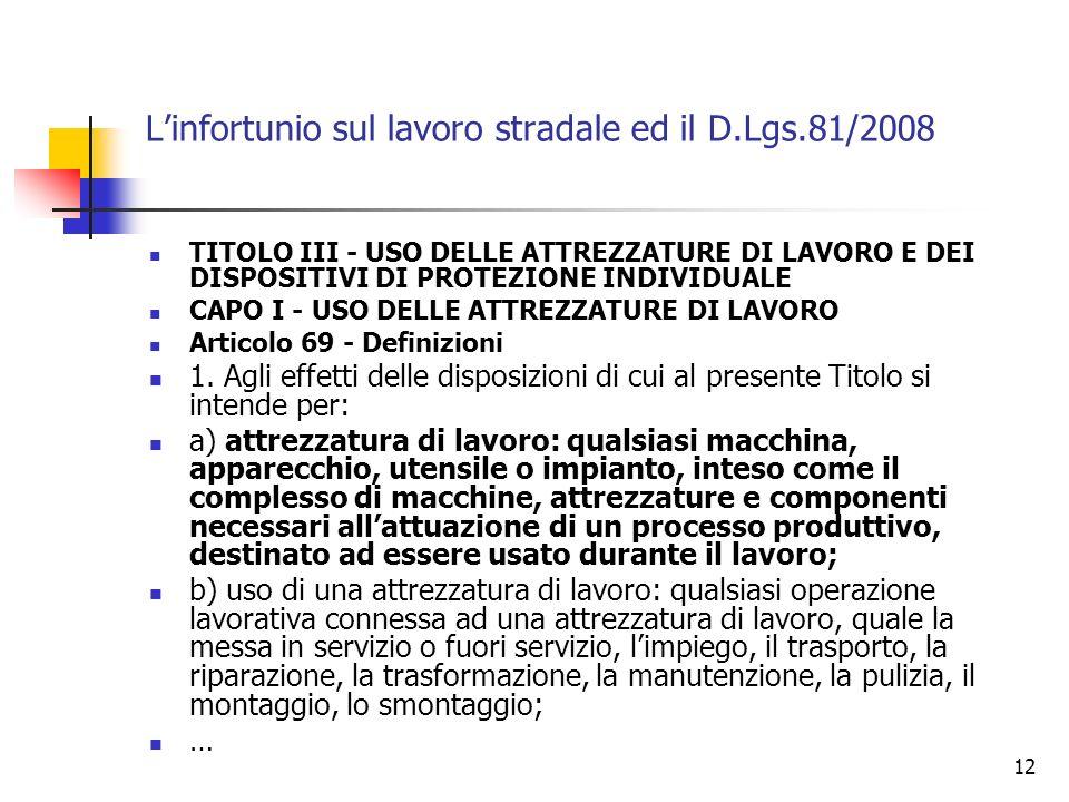 12 Linfortunio sul lavoro stradale ed il D.Lgs.81/2008 TITOLO III - USO DELLE ATTREZZATURE DI LAVORO E DEI DISPOSITIVI DI PROTEZIONE INDIVIDUALE CAPO