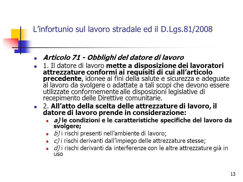 13 Linfortunio sul lavoro stradale ed il D.Lgs.81/2008 Articolo 71 - Obblighi del datore di lavoro 1. Il datore di lavoro mette a disposizione dei lav