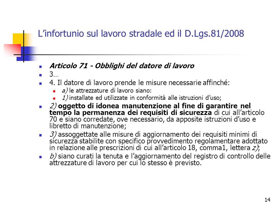 14 Linfortunio sul lavoro stradale ed il D.Lgs.81/2008 Articolo 71 - Obblighi del datore di lavoro 3… 4. Il datore di lavoro prende le misure necessar