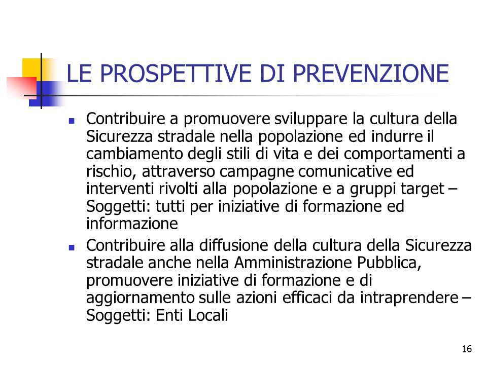 16 LE PROSPETTIVE DI PREVENZIONE Contribuire a promuovere sviluppare la cultura della Sicurezza stradale nella popolazione ed indurre il cambiamento d
