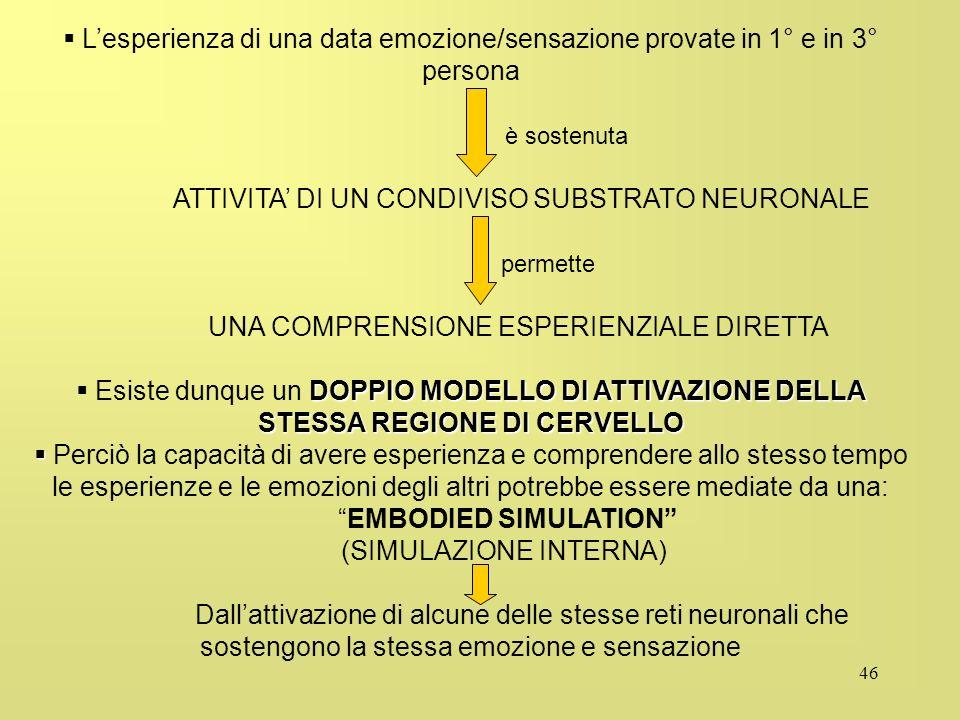 46 Lesperienza di una data emozione/sensazione provate in 1° e in 3° persona è sostenuta ATTIVITA DI UN CONDIVISO SUBSTRATO NEURONALE permette UNA COM