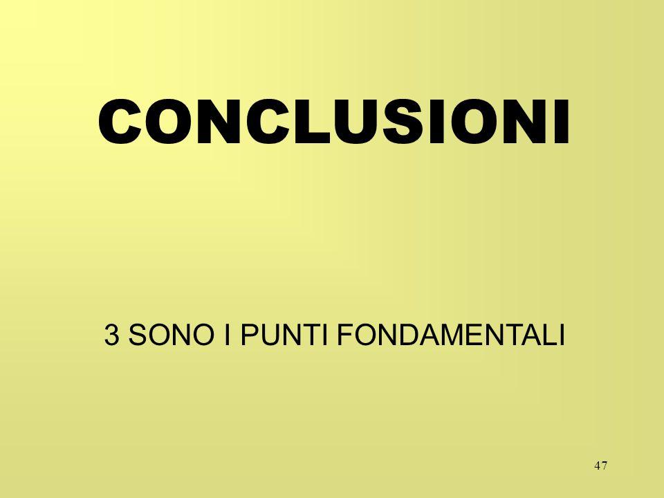 47 CONCLUSIONI 3 SONO I PUNTI FONDAMENTALI