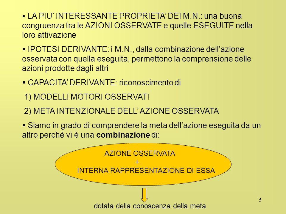 5 LA PIU INTERESSANTE PROPRIETA DEI M.N.: una buona congruenza tra le AZIONI OSSERVATE e quelle ESEGUITE nella loro attivazione IPOTESI DERIVANTE: i M