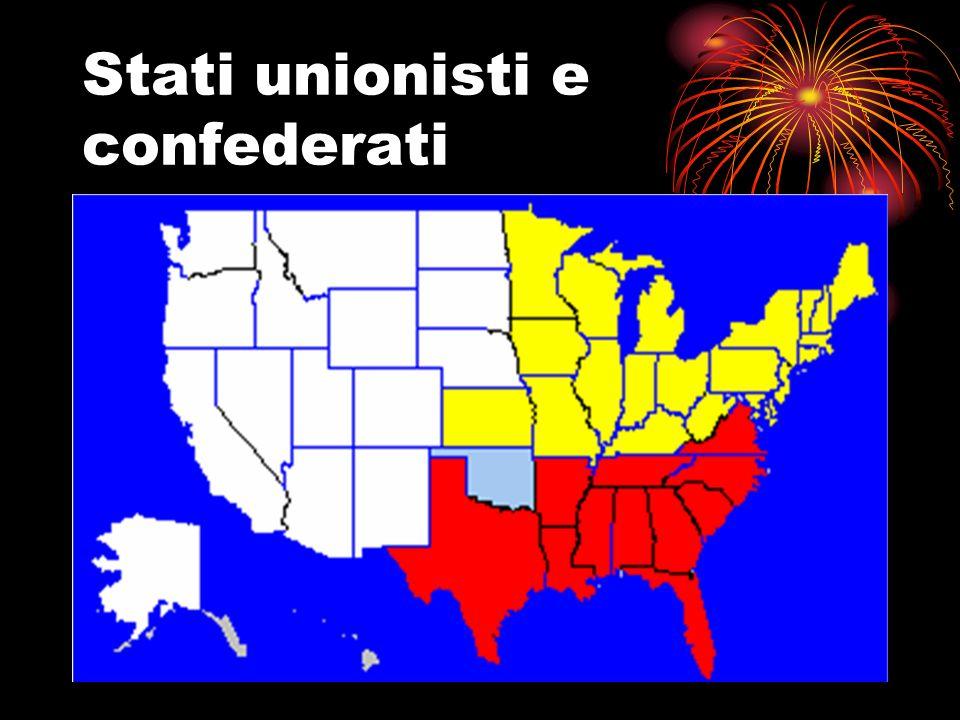 La guerra di Secessione 1° grande guerra delletà industriale Il Nord dispone di + uomini e dellindustria Il Sud ha generali più abili (Lee) Alla fine