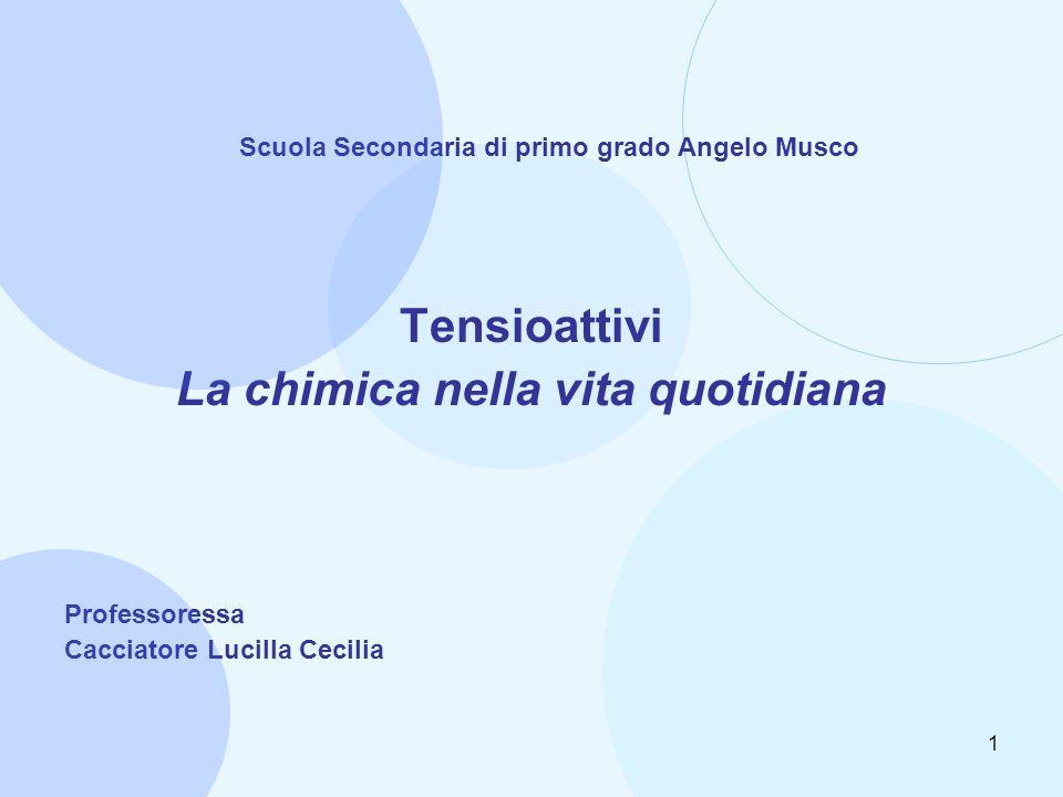 1 Scuola Secondaria di primo grado Angelo Musco Tensioattivi La chimica nella vita quotidiana Professoressa Cacciatore Lucilla Cecilia