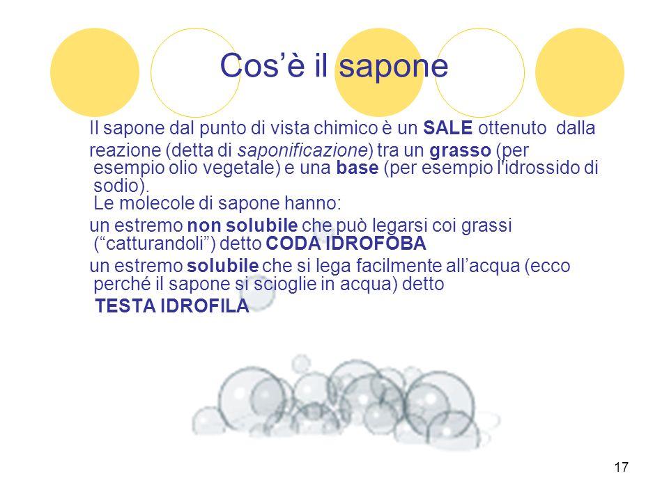17 Cosè il sapone Il sapone dal punto di vista chimico è un SALE ottenuto dalla reazione (detta di saponificazione) tra un grasso (per esempio olio ve