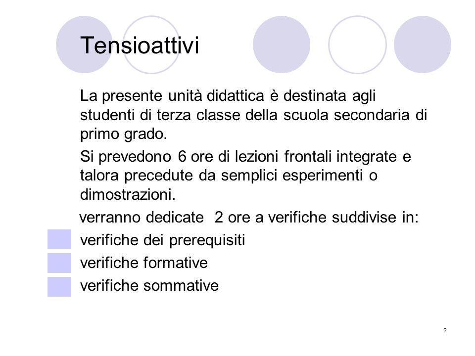 2 Tensioattivi La presente unità didattica è destinata agli studenti di terza classe della scuola secondaria di primo grado. Si prevedono 6 ore di lez