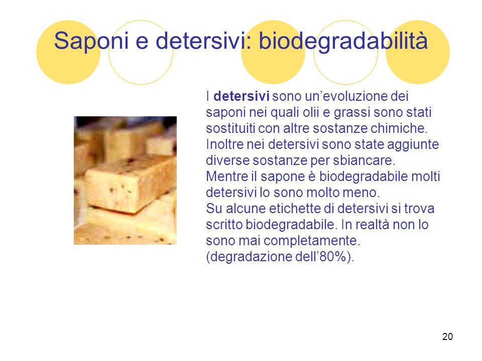 20 Saponi e detersivi: biodegradabilità I detersivi sono unevoluzione dei saponi nei quali olii e grassi sono stati sostituiti con altre sostanze chim