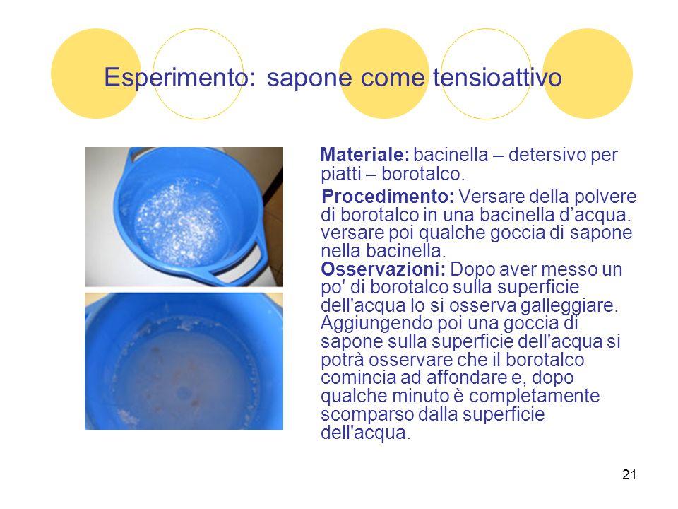 21 Esperimento: sapone come tensioattivo Materiale: bacinella – detersivo per piatti – borotalco. Procedimento: Versare della polvere di borotalco in