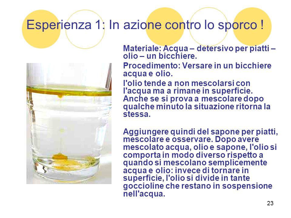 23 Esperienza 1: In azione contro lo sporco ! Materiale: Acqua – detersivo per piatti – olio – un bicchiere. Procedimento: Versare in un bicchiere acq