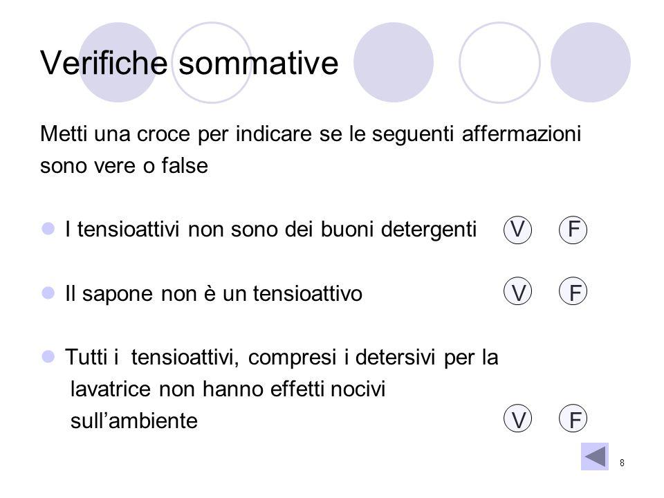 8 Verifiche sommative Metti una croce per indicare se le seguenti affermazioni sono vere o false I tensioattivi non sono dei buoni detergenti V F Il s