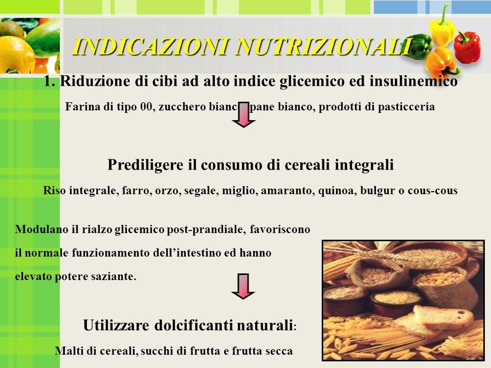 INDICAZIONI NUTRIZIONALI 1. Riduzione di cibi ad alto indice glicemico ed insulinemico Farina di tipo 00, zucchero bianco, pane bianco, prodotti di pa