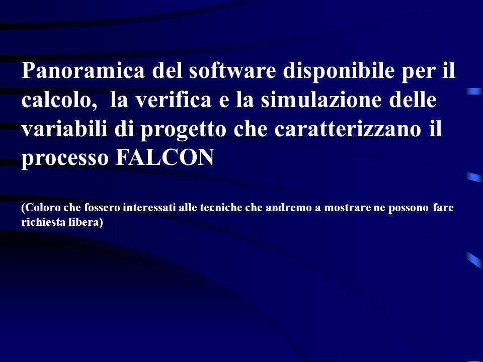 Panoramica del software disponibile per il calcolo, la verifica e la simulazione delle variabili di progetto che caratterizzano il processo FALCON (Co
