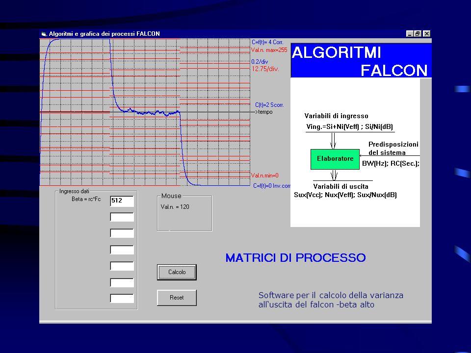Software per il calcolo della varianza alluscita del falcon -beta alto