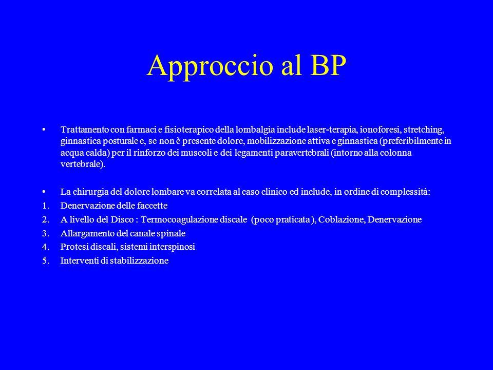 Approccio al BP Trattamento con farmaci e fisioterapico della lombalgia include laser-terapia, ionoforesi, stretching, ginnastica posturale e, se non