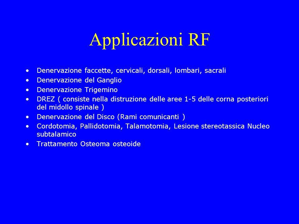 Applicazioni RF Denervazione faccette, cervicali, dorsali, lombari, sacrali Denervazione del Ganglio Denervazione Trigemino DREZ ( consiste nella dist