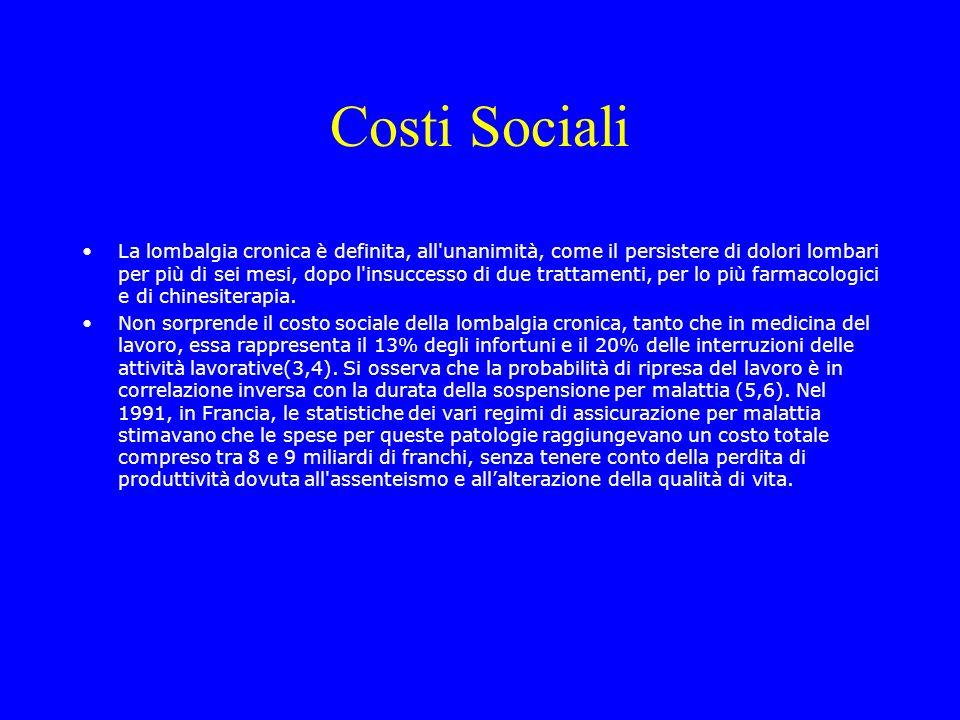 Costi Sociali La lombalgia cronica è definita, all'unanimità, come il persistere di dolori lombari per più di sei mesi, dopo l'insuccesso di due tratt