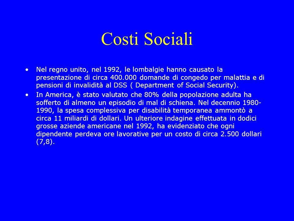 Costi Sociali Nel regno unito, nel 1992, le lombalgie hanno causato la presentazione di circa 400.000 domande di congedo per malattia e di pensioni di